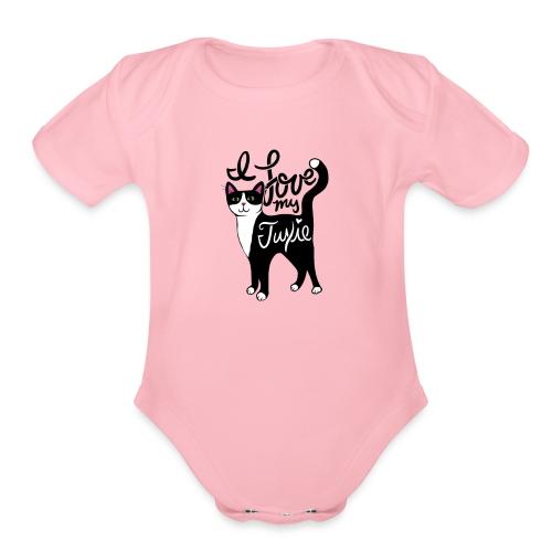 I love my tuxedo cat - Organic Short Sleeve Baby Bodysuit