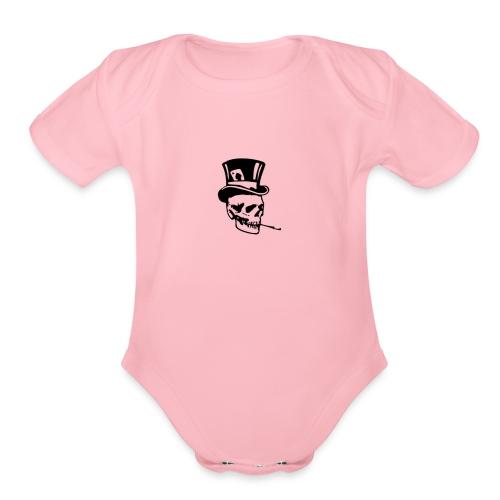classy skull - Organic Short Sleeve Baby Bodysuit