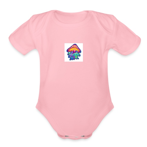 shrooms1 - Organic Short Sleeve Baby Bodysuit