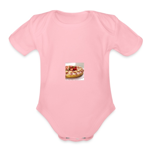 peach strawberry upside down cake 80 - Organic Short Sleeve Baby Bodysuit