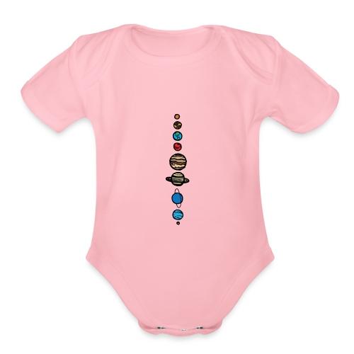 Planets Colour - Organic Short Sleeve Baby Bodysuit