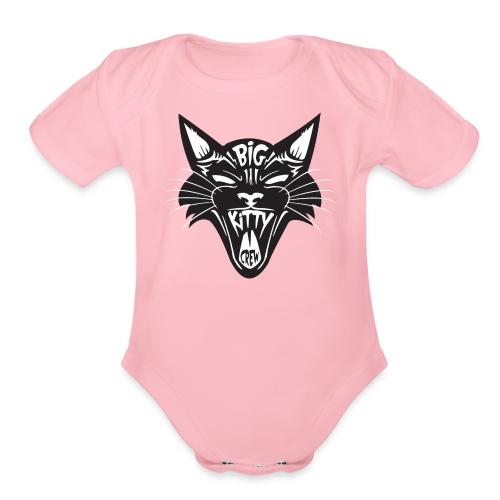 Big Kitty-Screaming Cat - Organic Short Sleeve Baby Bodysuit