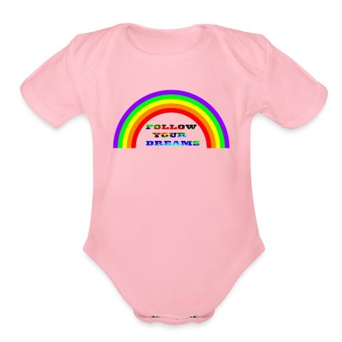 Follow Your Dreams Rainbow - Organic Short Sleeve Baby Bodysuit