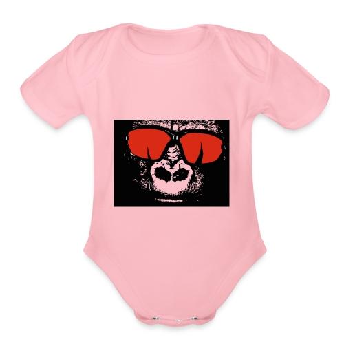 gorilla primate ape - Organic Short Sleeve Baby Bodysuit