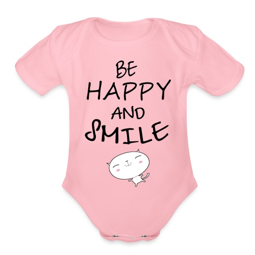 be happy and smile unique coffee mug - Organic Short Sleeve Baby Bodysuit
