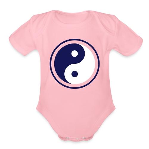Yin Yang in Circle - Chinese Spiritual Symbol - Organic Short Sleeve Baby Bodysuit