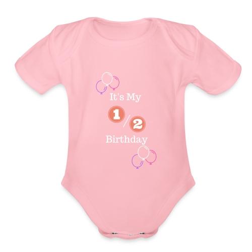Half Birthday Girl (Purple) - Organic Short Sleeve Baby Bodysuit