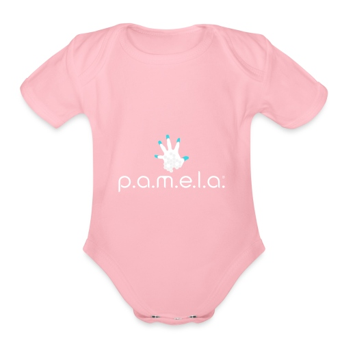 P.A.M.E.L.A. Logo White - Organic Short Sleeve Baby Bodysuit