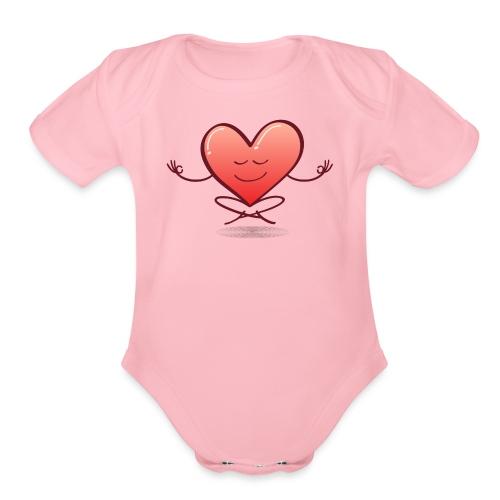 Cartoon heart smiling and meditating in lotus pose - Organic Short Sleeve Baby Bodysuit