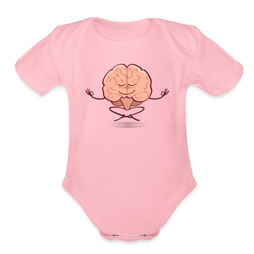 Cartoon brain meditating in lotus pose - Organic Short Sleeve Baby Bodysuit
