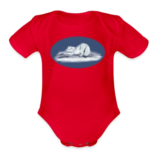 Arctic Fox on snow - Organic Short Sleeve Baby Bodysuit
