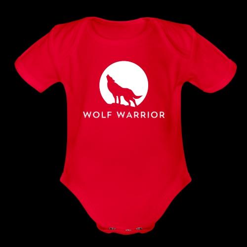 Red/Grey Wolf - Organic Short Sleeve Baby Bodysuit