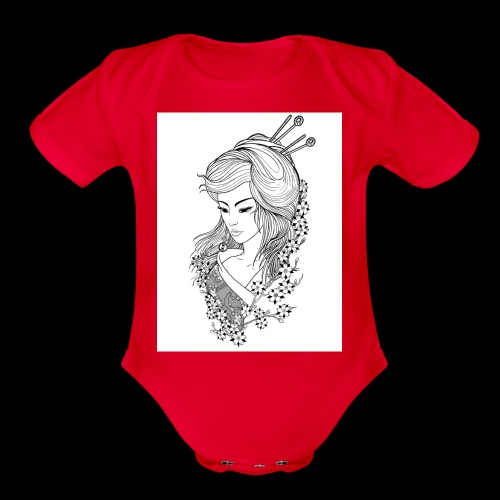 Geisha girl - Organic Short Sleeve Baby Bodysuit