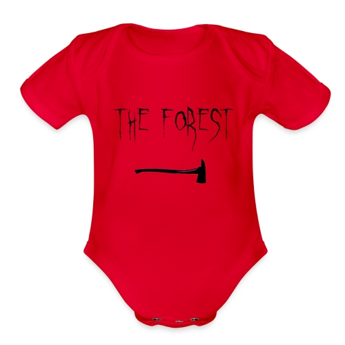 the forest , game axe - Organic Short Sleeve Baby Bodysuit