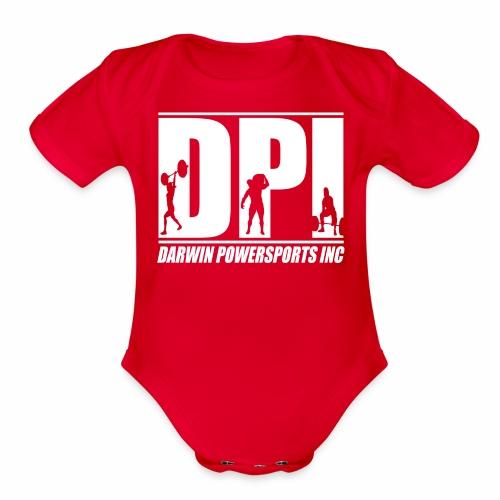 DPI Logo White - Organic Short Sleeve Baby Bodysuit