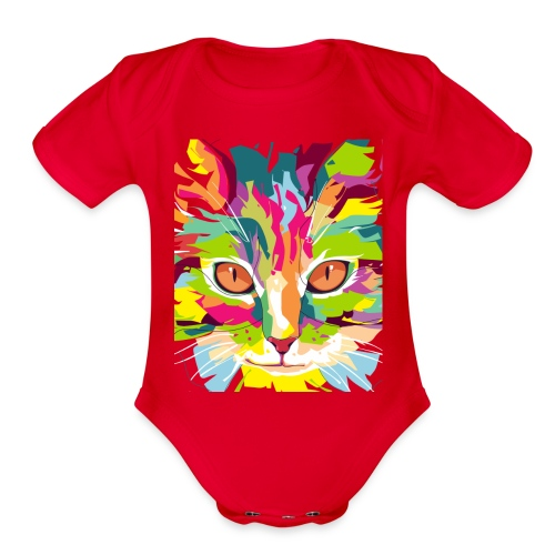 Cat Art Work - Organic Short Sleeve Baby Bodysuit