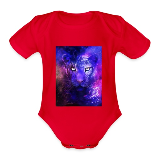 glowing leopard - Organic Short Sleeve Baby Bodysuit