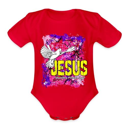JESUS UNENDING PERFECT LOVE - Organic Short Sleeve Baby Bodysuit
