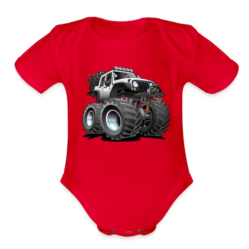 Off road 4x4 white jeeper cartoon - Organic Short Sleeve Baby Bodysuit