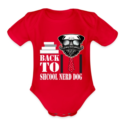 back to shcool nerd dog - Organic Short Sleeve Baby Bodysuit