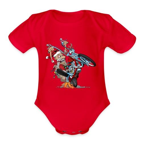 Biker Santa on a chopper cartoon illustration - Organic Short Sleeve Baby Bodysuit