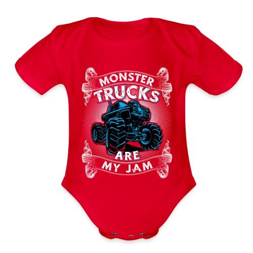 Monster trucks are my jam - Organic Short Sleeve Baby Bodysuit