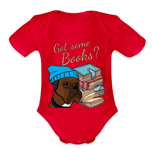 Funny boxer and book lover tshirt - Organic Short Sleeve Baby Bodysuit