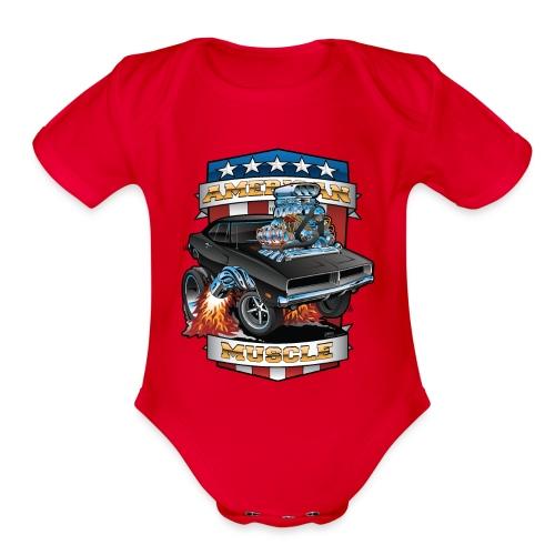 American Muscle Patriotic Muscle Car Cartoon - Organic Short Sleeve Baby Bodysuit