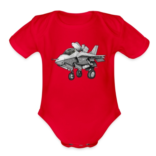 F-35B Lighting II Joint Strike Fighter Cartoon - Organic Short Sleeve Baby Bodysuit