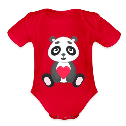 Sweetheart Panda - Organic Short Sleeve Baby Bodysuit