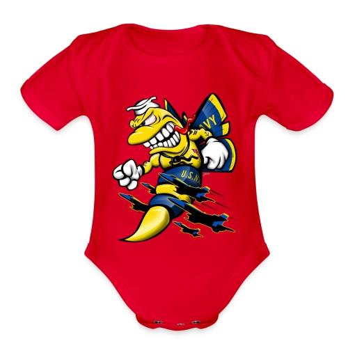 Cartoon Blue Angels F/A-18 Hornet - Organic Short Sleeve Baby Bodysuit