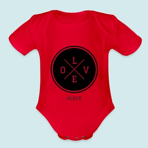 #love black and white - Organic Short Sleeve Baby Bodysuit