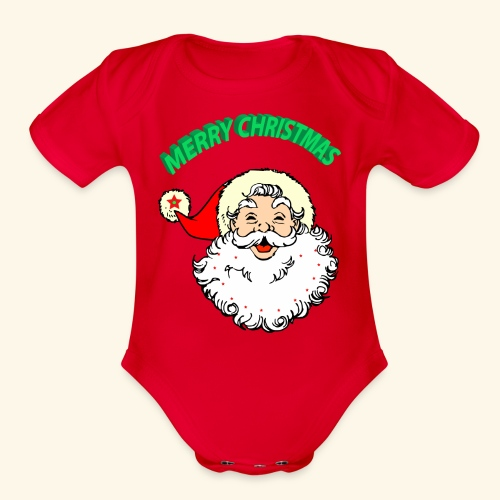 merry christmas santa claus - Organic Short Sleeve Baby Bodysuit