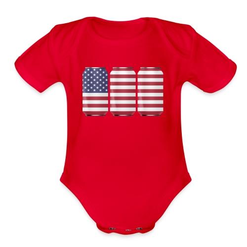 beer can USA Flag - Organic Short Sleeve Baby Bodysuit