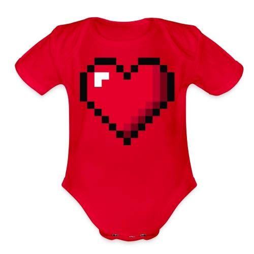 Pixel 8 bit Happy Valentine s Day Heart for Gamers - Organic Short Sleeve Baby Bodysuit