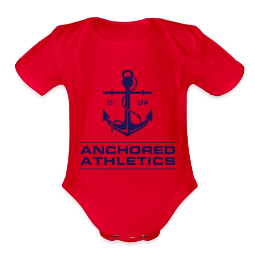 Anchored Athletics Blue Vertical - Organic Short Sleeve Baby Bodysuit