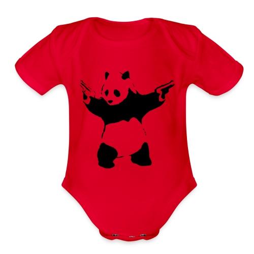 Shoot Em Up Panda - Organic Short Sleeve Baby Bodysuit