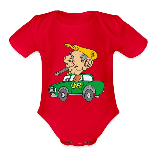 Old cab/Taxi driver enjoying Cigar - Organic Short Sleeve Baby Bodysuit