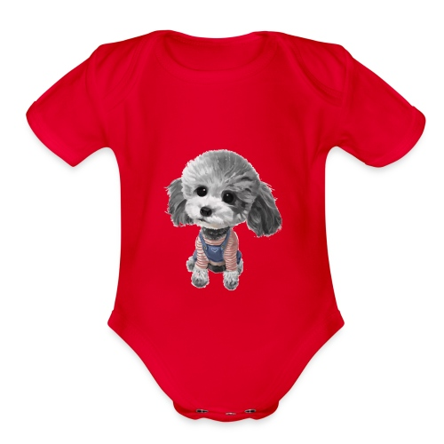 cute dog - Organic Short Sleeve Baby Bodysuit