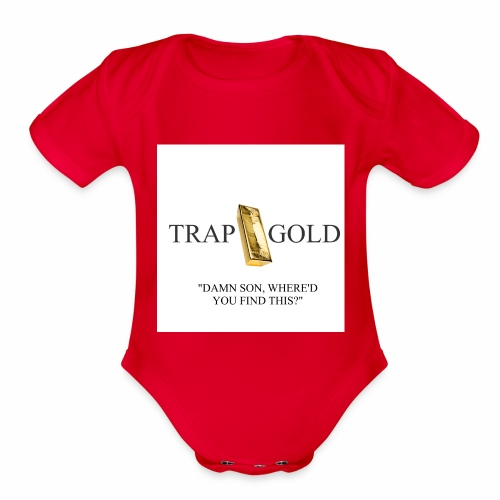 trap gold logo - Organic Short Sleeve Baby Bodysuit