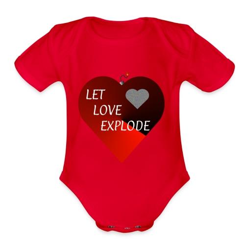 Let Love Explode Heart - Organic Short Sleeve Baby Bodysuit