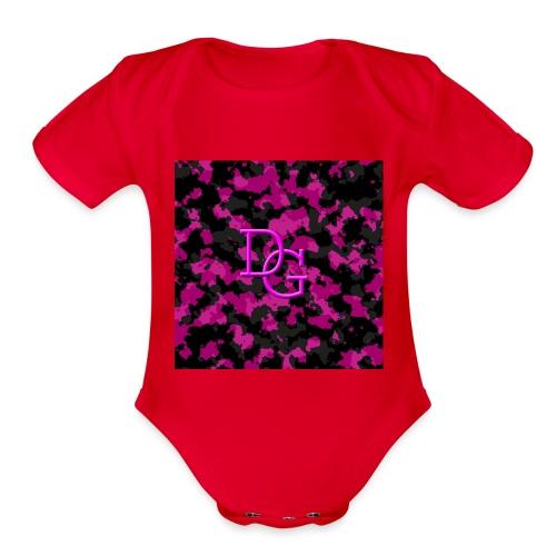 pink camo - Organic Short Sleeve Baby Bodysuit