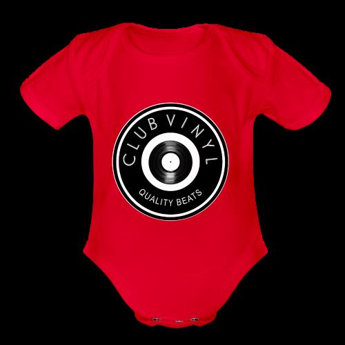 CLUBvinyl RECORDwhite - Organic Short Sleeve Baby Bodysuit