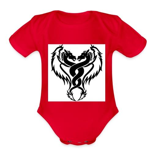 Black And White Dragon Tattoo Designs - Organic Short Sleeve Baby Bodysuit