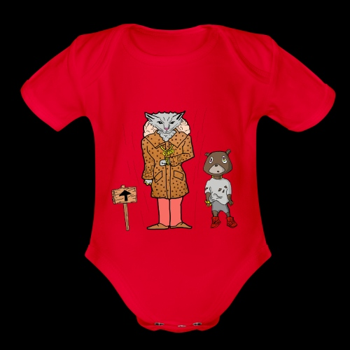 Tomkat Larry Only Pimps Tan Leather Ostrich Parka - Organic Short Sleeve Baby Bodysuit