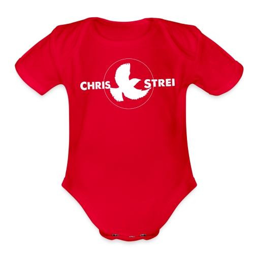 Chris Strei BlackBird Logo (white) - Organic Short Sleeve Baby Bodysuit