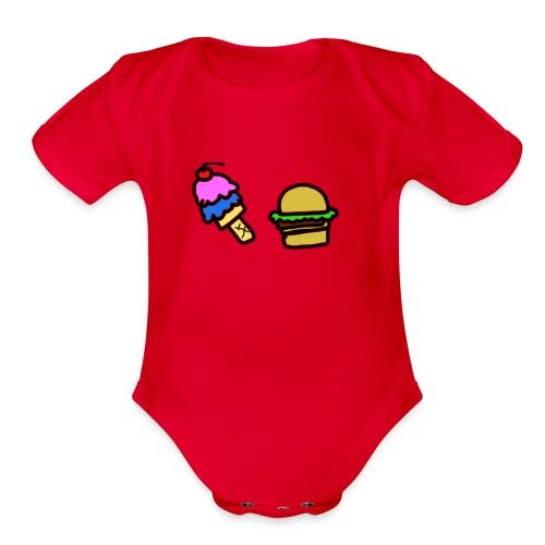 Ice Cream and cheeseburgers - Organic Short Sleeve Baby Bodysuit