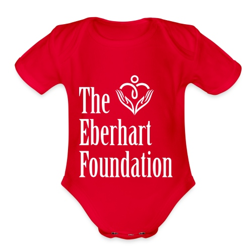The Eberhart Foundation square logo white - Organic Short Sleeve Baby Bodysuit