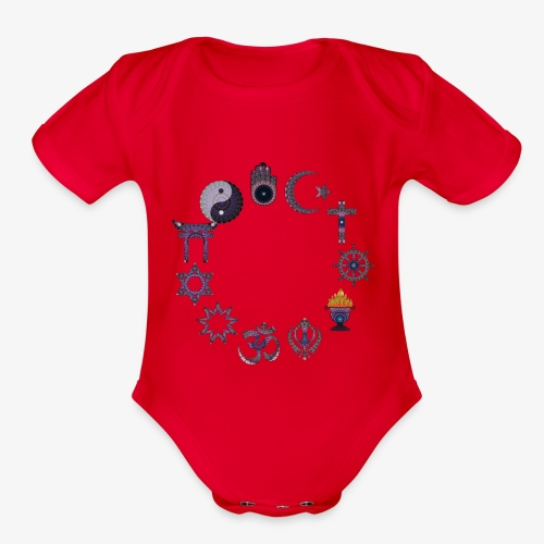 Love and peace religious signs - Organic Short Sleeve Baby Bodysuit