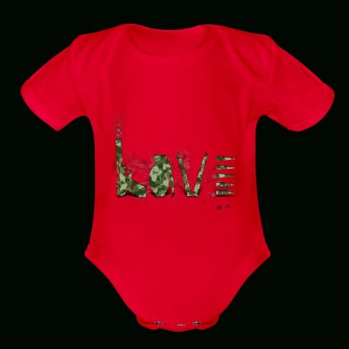 Love and War - Army - Organic Short Sleeve Baby Bodysuit